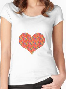 red flowers heart Women's Fitted Scoop T-Shirt