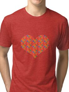 red flowers heart Tri-blend T-Shirt