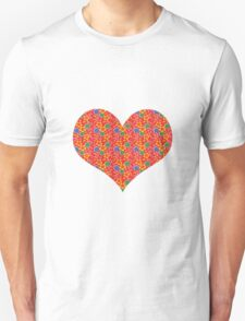 red flowers heart T-Shirt