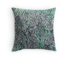 Snow Pines (Dark Green) Throw Pillow