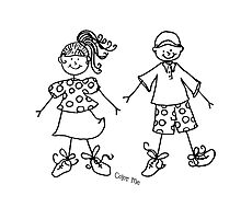Color Me Card ~ Girl & Boy Photographic Print
