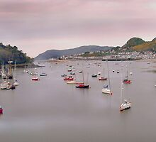 Boats on the Conwy Estuary sunrise by philipclarke