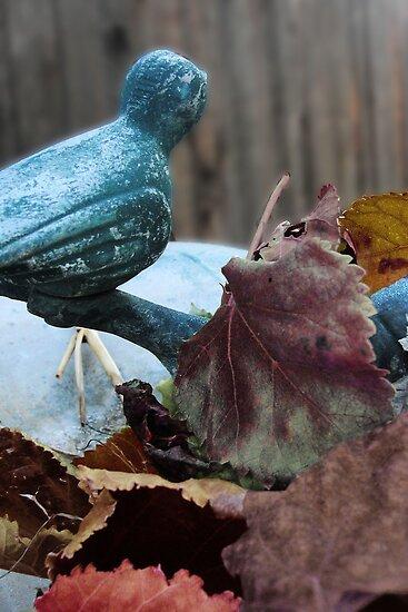 Bird Bath In the Fall by amyschuldies