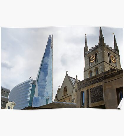 Southwark Cathedral vs The Shard.  Old and new in London Poster