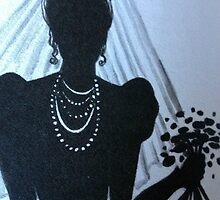 BRIDE'S SILHOUETTE GREETING CARD by dagokid