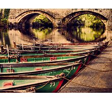 Boats on nidd Photographic Print
