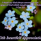 Forget-me-not Thank you card 1 Corinthians 1:4 by hummingbirds