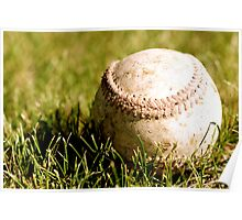 Old Baseball in the Grass Poster