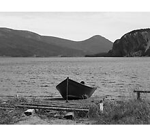 Lonely Black Row Boat Photographic Print