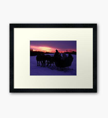 Sleigh ride sunset Framed Print