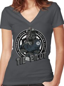 TIE Pilot Crest Women's Fitted V-Neck T-Shirt