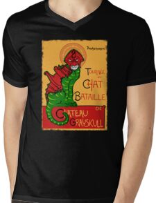 Chat Bataille Mens V-Neck T-Shirt