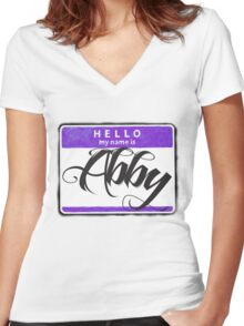 HELLO MY NAME IS ABBY Women's Fitted V-Neck T-Shirt