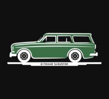 Volvo Amazon Station Wagon Kombi Green Eerkes for Black Shirts Kids Tee