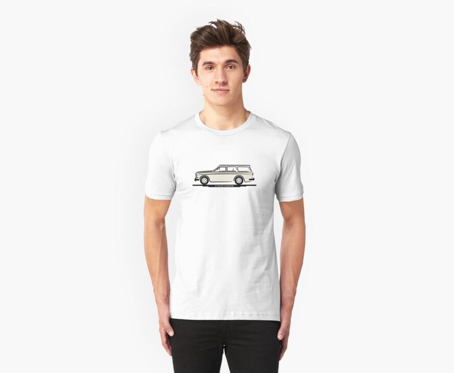 Volvo Amazon Station Wagon Kombi White for Black Shirts by Frank Schuster