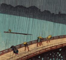 Pedestrians crossing a bridge during a rain storm 001 Sticker