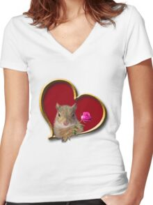 Mother's Day Squirrel Women's Fitted V-Neck T-Shirt