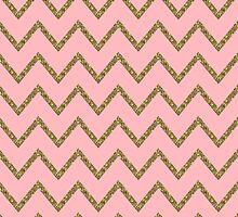 Gold & Pink Glitter Chevron by gretzky
