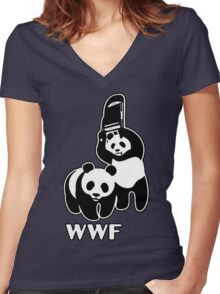 WWF (black and white ) Women's Fitted V-Neck T-Shirt
