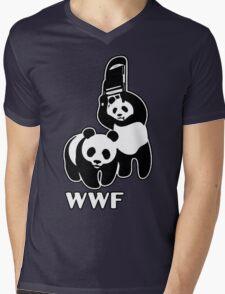 WWF (black and white ) Mens V-Neck T-Shirt