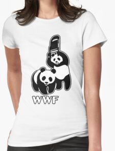 WWF (black and white ) Womens Fitted T-Shirt