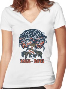 Toomer's Corner Roll In Peace.  Women's Fitted V-Neck T-Shirt