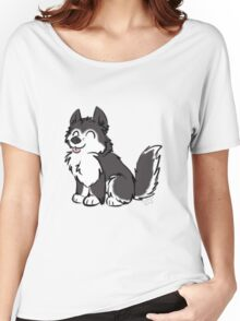 Husky Wuff Black Women's Relaxed Fit T-Shirt