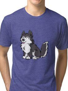 Husky Wuff Black Tri-blend T-Shirt