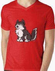 Husky Wuff Black Mens V-Neck T-Shirt
