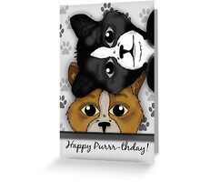 Cat Duet Birthday Card Saying Happy Purrr-thday! Greeting Card