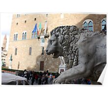 Lion Statue in Florence, Italy Poster