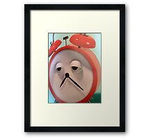 SAD FACED CLOCK GREETING CARD=TICKED OFF Framed Print