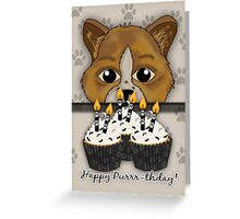 Cat Birthday Card Saying Happy Purrr-thday! With Cupcakes Greeting Card