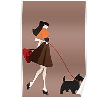Girl Walking the Dog Poster