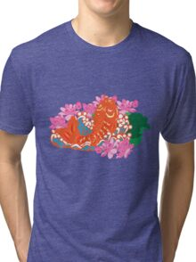 Fish (Japan Carp) Graphic with Japan Painting Style Tri-blend T-Shirt