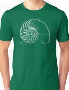 Fibonacci on a nautilus shell Unisex T-Shirt