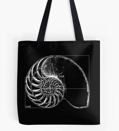 Fibonacci on a nautilus shell Tote Bag