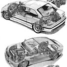 BMW M3 Cutaways E36 and E46 with engines by Steve Pearcy