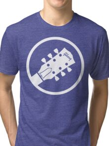 gibson  stylized headstock white Tri-blend T-Shirt