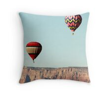 Hot Air Balloon thru Cliffs Throw Pillow