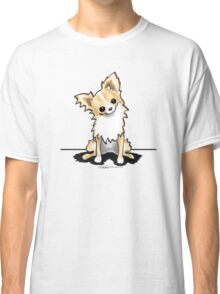 Longhaired Fawn/White Chihuahua Sit Pretty Classic T-Shirt