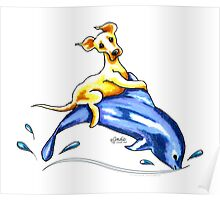 Yellow Lab Dolphin Ride Poster