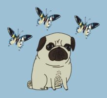 pug likes butterflies  by tia knight