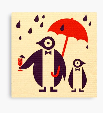 Penguins Keeping Dry Canvas Print