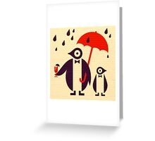 Penguins Keeping Dry Greeting Card