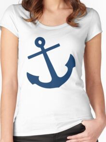 Navy Blue Anchor Women's Fitted Scoop T-Shirt