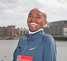 Mo Farah CBE having a laugh! by Keith Larby