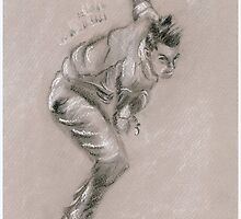 Dale Steyn - original pastel drawing by Paulette Farrell