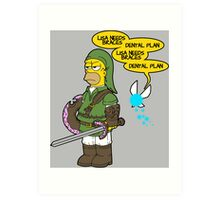 The legend of Zel- er... D'OH! Art Print