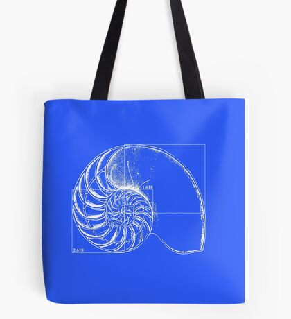 Fibonacci on a nautilus shell (blue) Tote Bag